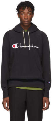 Champion Reverse Weave Black Big Script Hoodie