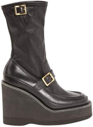 Sacai Black Leather Ankle boots