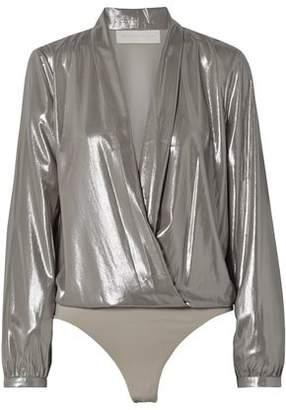 Mason by Michelle Mason Wrap-effect Lame Thong Bodysuit