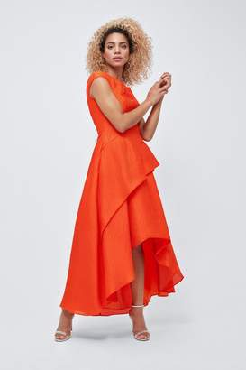 Coast Womens Orange Textured High Low Dress - Orange