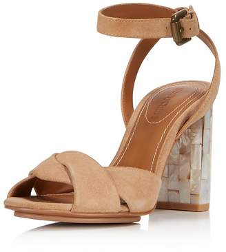 See by Chloe Women's Isida Suede & Mother-of-Pearl Block Heel Sandals