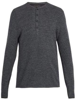 Rag & Bone - Giles Ribbed Knit Wool Henley Top - Mens - Charcoal