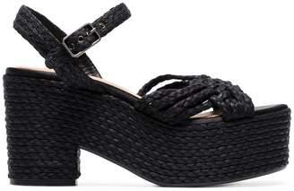 Castaner black woven raffia 135 platform sandals