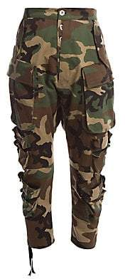 Unravel Project Women's Camo Cotton Cropped Cargo Pants