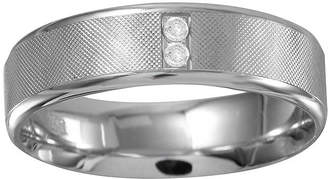 MODERN BRIDE Mens 6mm Diamond-Accent 10K White Gold Textured Wedding Band