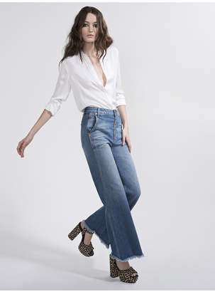 Alice + Olivia Gorgeous High Rise Cropped Wide Leg Jean