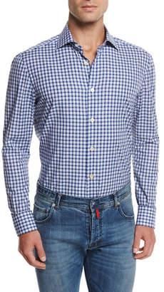 Kiton Check Cotton Shirt, Purple