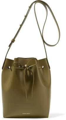 Mansur Gavriel Mini Leather Bucket Bag - Army green
