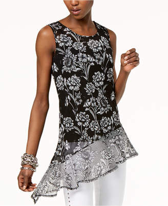 INC International Concepts I.N.C. Printed Asymmetrical Top, Created for Macy's