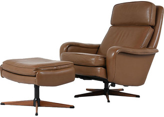 One Kings Lane Vintage Ostervig Leather Lounge Chair & Ottoman - Castle Antiques & Design