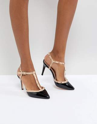 Dune London Catelyn Leather Studded Heeled Shoe in Black