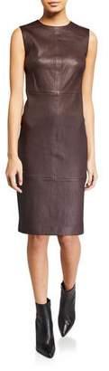 Vince Sleeveless Leather Crewneck Dress