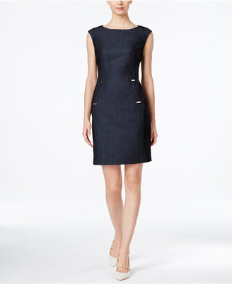 Calvin Klein Embellished Denim Sheath Dress $89.98 thestylecure.com