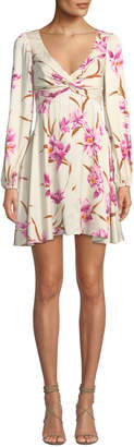 Zimmermann Corsage Knot-Front Floral Short Cocktail Dress