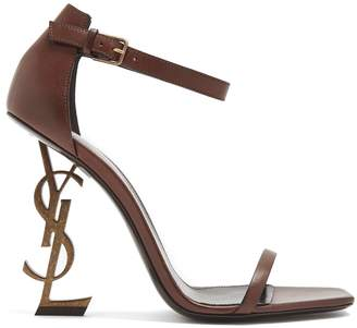 Saint Laurent Opyum logo-heel leather sandals