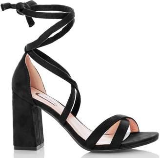 6d099ee1705 Dorothy Perkins Womens  Quiz Black Tie Up Block Heel Sandals