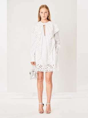 Oscar de la Renta Ruffle Eyelet Stretch-Cotton Poplin Dress