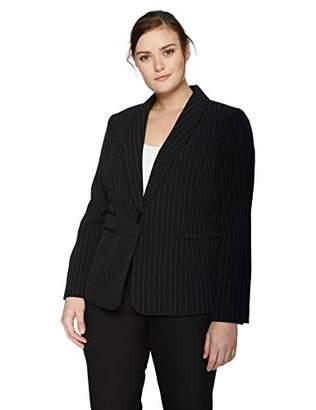 Kasper Women's Plus Size 1 Button Shawl Collar Stretch Crepe Pinstripe Jacket