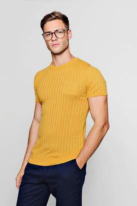 boohoo Pocket Ribbed Knit T-Shirt