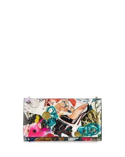Christian Louboutin Christian Louboutin Macaron Trash-Print Flap Wristlet Wallet, Multi