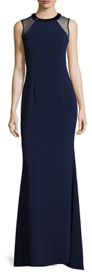 Carmen Marc ValvoEmbellished Mixed Media Gown