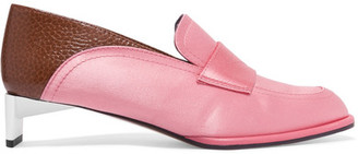 Satin And Textured-leather Loafers - Pink