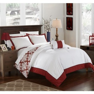 Hotel Collection Chic Home 3-Piece Maribeth Marsala and White REVERSIBLE Medallion printed PLUSH Twin Duvet Cover Set Marsala