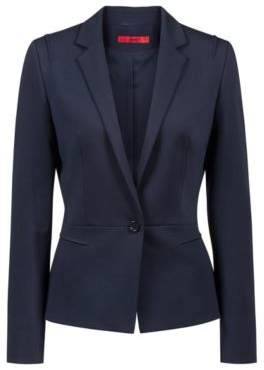HUGO Boss Regular-fit one-button jacket in open-cut jersey 4 Open Blue