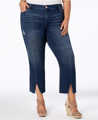 Celebrity Pink Trendy Plus Size Seamed Vented-Hem Jeans