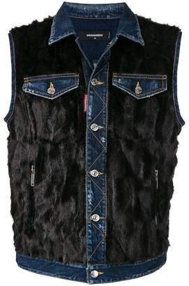 DSQUARED2 sleeveless denim fur vest