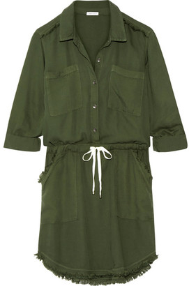 Splendid - Frayed Washed-crepe De Chine Dress - Army green $220 thestylecure.com