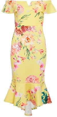 Quiz Lemon & Pink Floral Frill Bardot Dress