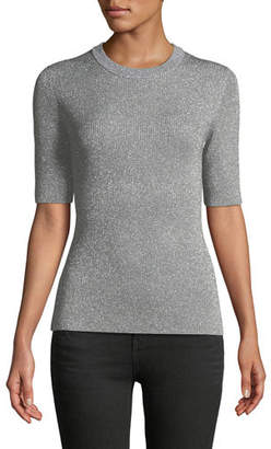 3.1 Phillip Lim Short-Sleeve Crewneck Metallic Rib-Knit Sweater