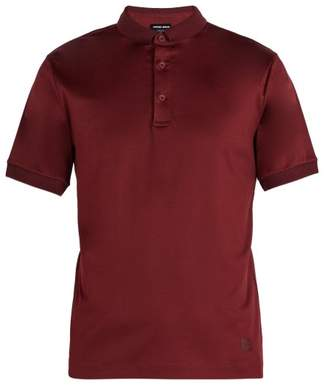 Giorgio Armani - Piqué Collar Cotton Jersey Polo Shirt - Mens - Burgundy