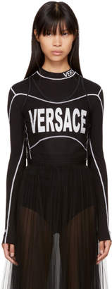 Versace Black Cropped Tulle Logo T-Shirt