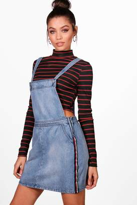 boohoo Sports Stripe Denim Pinafore Dress
