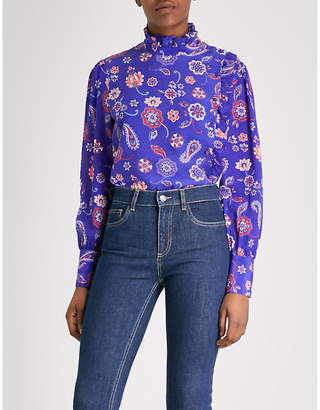 Claudie Pierlot Ruffled printed silk blouse