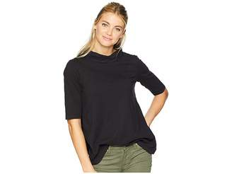 Mod-o-doc Classic Jersey Button Neck Elbow Sleeve Tee with Pleated Back