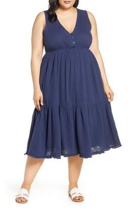 Lucky Brand Cotton Gauze Midi Dress