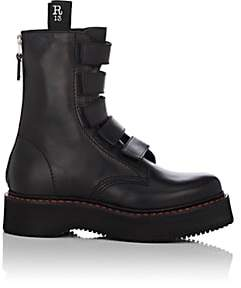 R 13 Women's Single Stack Leather Combat Boots - Black