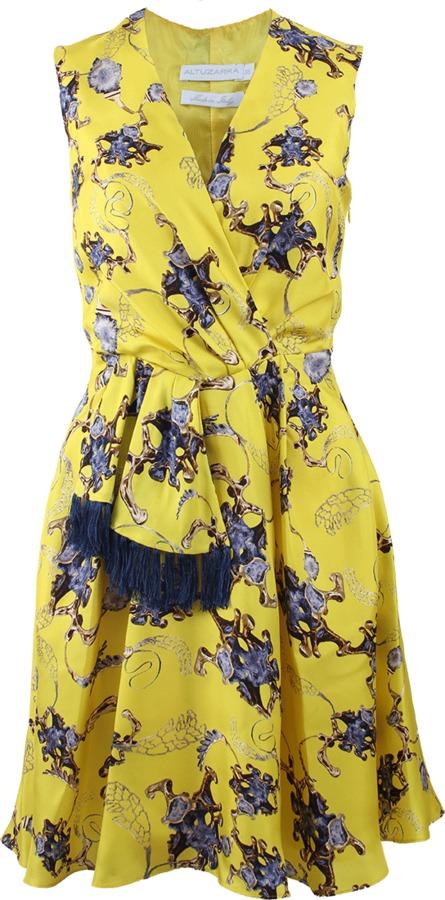Altuzarra Sleeveless V-Neck Deco Print Dress