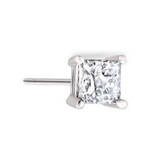 FINE JEWELRY 10K White Gold 1/10 C.T. T.W. Princess Cut Single Diamond Stud Earring