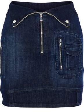 RtA Gisele Zip-detailed Denim Mini Skirt