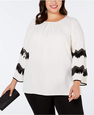 Alfani Plus Size Embellished-Sleeve Blouse