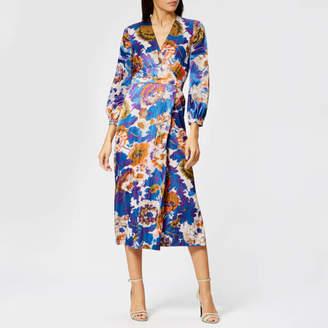 Whistles Women s Autumn Bloom Devore Wrap Dress f0418c34c