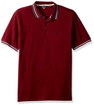 Ben Sherman Men's Stripe Collar Pique Polo