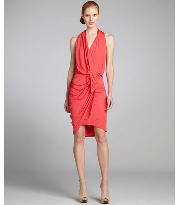 Under.ligne By Doo.ri Red Stretch Crepe Sleeveless Side Drape Dress
