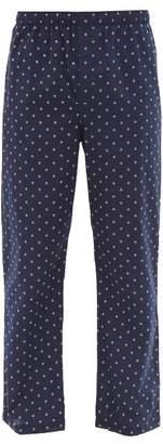 Derek Rose Geometric Pattern Cotton Poplin Pyjama Trousers - Mens - Navy Multi