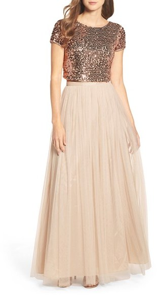 Adrianna Papell Women's Adrianna Papell Embellished Two Piece Gown