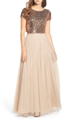 Women's Adrianna Papell Embellished Two Piece Gown $249 thestylecure.com